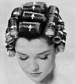 how to sew straight : ... rollers in a design to wet hair and removing rollers once the hair is